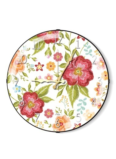 The Mia Duvar Saati - Floral C 35 Cm Renkli